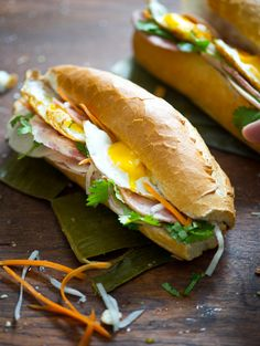 Vietnamese banh mi recipe with a fried egg on top. Every bite is scrumptious! Recipe from @Diane Cu (White On Rice Couple) and @Todd Porter (White On Rice Couple)