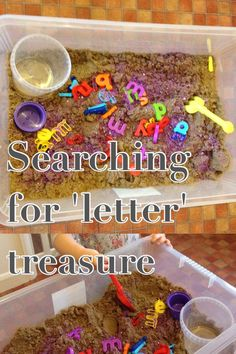 Exploring the alphabet by searching for magnetic letter treasure in the sand. We often add a magnetic board with letters written on it to match them as we find them. Great sand play and early literacy activity.  Adventures with Isla-Brae