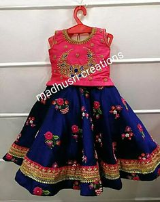 Best 12 Stunning pink pattu kids lehenga and blue color parikini with bird and cage design hand embroidery thread work on yoke. Age : 1 to : 4500 INR 18 February 2019 – SkillOfKing. Mom Daughter Matching Dresses, Mom And Baby Dresses, Dresses Kids Girl, Kids Dress Wear, Kids Gown, Fancy Dress For Kids, Baby Frocks Designs, Kids Frocks Design, 1st Birthday Girl Dress