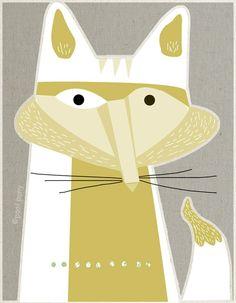 white fox mid century design art print A4 size by poolponydesign