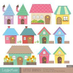 Gráfico Digital de pequeñas casas por LittleMoss en Etsy