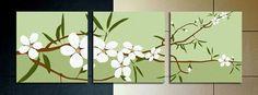 3 piece japanese flower wall art   free shipping & framed