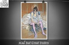 Danseuse assise aux Bas de roses - Toulouse Lautrec - 1890, retro poster, french vintage, fine art prints, travel poster, fine art, painting by MadButGreatPosters on Etsy Lautrec, Toulouse, Vintage Posters, Roses, Etsy, Trending Outfits, Unique Jewelry, Handmade Gifts, Painting