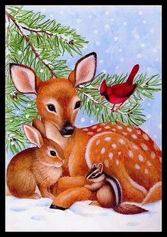Merry Christmas Wishes : Illustration Description Fawn and Friends -- by Stephanie Stouffer:~~ Sending you love and hugs and wishes for a Merry Christmas Scenes, Christmas Deer, Christmas Animals, Vintage Christmas Cards, Christmas Pictures, Christmas Greetings, Merry Christmas, Animal Paintings, Animal Drawings