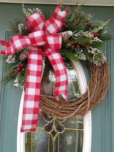 Rustic Plaid Christmas Wreath / Christmas Wreath / Holiday Wreath /Front door Wreath / Christmas Wreath for Front Door / Buffalo Plaid Christmas Wreaths For Front Door, Holiday Wreaths, Door Wreaths, Winter Wreaths, Holiday Ideas, Plaid Christmas, Rustic Christmas, Christmas Time, Christmas Crafts