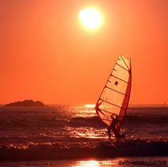 Shoreline Sail Surfing Sunset