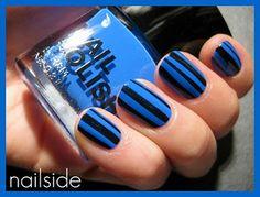 Tutorial: Uñas con rayas azul y negro