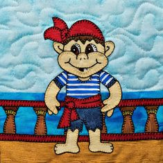 Pirate deck hand PDF applique quilt block pattern; baby boy or child's downloadable quilt pattern; Ms P Designs USA by MsPDesignsUSA on Etsy