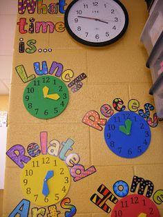Place mini clocks with our schedule around the clock in the classroom. Good idea to show the clock and the times we do things so the children can get an idea of the clock system!