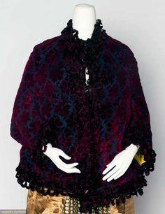 Cut Velvet Dolman Jacket, Garnet Red Velvet Cut To Blue-Black, Looped Chenille Edging And Yellow Satin Lining    c.1880's