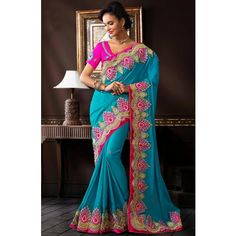 Blue Jacquard Party Wear #Saree With Blouse