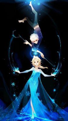 Jack Frost x Elza - One Piece Jelsa, Jack Frost Und Elsa, Jack And Elsa, Disney Princess Art, Disney Fan Art, Princess Luna, Princesse Disney Swag, Disney Ships, Disney Crossovers