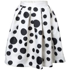 Na'ara Black and White Polka Dot Skirt ($99) ❤ liked on Polyvore featuring skirts, saias, white, white and black skirt, pastel skirt, dot skirt, white polka dot skirt and white knee length skirt