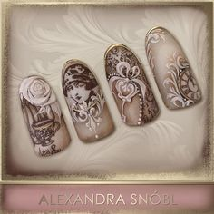 Nail design with Moyra Stamping plate No. 05 Vintage and No. 12 Faces…