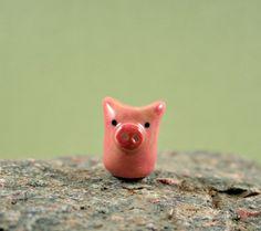 NEW Little Pink Pig - Hand Sculpted Miniature Ceramic Animal