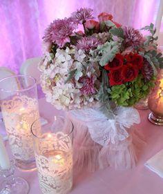 Candle holders, tutu base on flowers