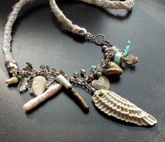 Bohemian Braut Engel Flügel Collier mit Seide von 13Alternatives