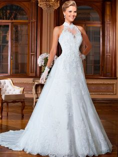 Wedding Dress 2016 A-line wedding dresses Halter Appliques Organza Satin court train vestido de noiva wedding gown