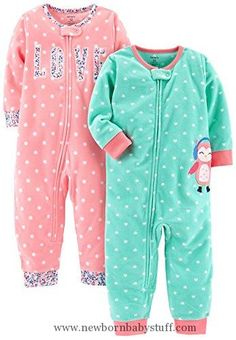 001f6b9d2c Baby Girl Clothes Carter s Baby Girls  Toddler 2-Pack Fleece Footless  Pajamas