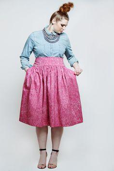 JIBRI Plus Size High Waist Flare Skirt Pinktrix by jibrionline, $120.00