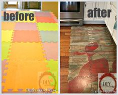 Cheap foam blocks + paint = beautiful, inexpensive kitchen mat.  Great replacement for those costly chef's mats!