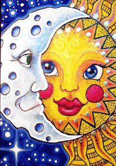 ACEO Celestial Sun and Moon by MandarinMoon