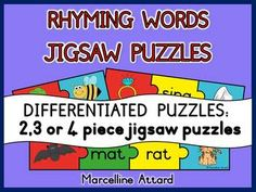 RHYMING WORDS JIGSAW PUZZLES- DIFFERENTIATED PUZZLES - GREAT FOR LITERACY CENTERS!!