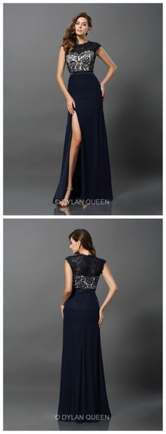 2015 Black &high neck prom dress with lace #dylanqueen