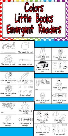 Colors Emergent Reader Little Books- Preschool or Kindergarten *** Kindergarten Colors, Preschool Colors, Teaching Colors, Preschool Kindergarten, Preschool Learning, Teaching Reading, Teaching Kids, Workshop, Emergent Readers
