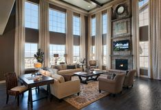 High Ceiling Living Room, Living Room Windows, Formal Living Rooms, Home Living Room, Living Room Designs, Living Room Decor, Bedroom Designs, Bedroom Ideas, Tall Curtains
