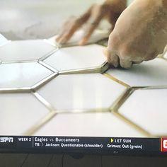 Tile with gold trim Master bathroom