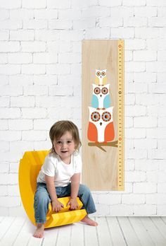 3 OWLS on a branch - Modern Growth/Height  Chart. $35.00, via Etsy.