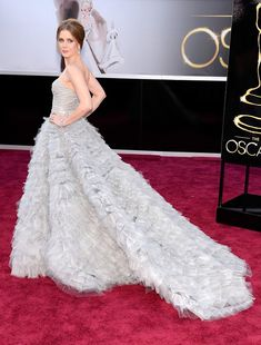 Amy Adams at the 2013 Oscars wearing a gown by ODLR. @OscarPRGirl