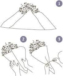 Картинки по запросу как красиво оформить букет цветов в целлофан или сетку пошагово