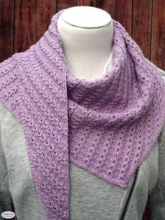 Free knitting pattern for an asymmetric triangular shawl with an easy-to-work lace stitch that creates great drape for a fun, modern design. Beanie Knitting Patterns Free, Easy Knitting, Knitting Yarn, Knitting Ideas, Knitting Projects, Crochet Patterns, Crochet Projects, Cowl Patterns, Knitted Poncho