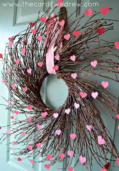 Valentine's Heart Willow Wreath tutorial on thecardswedrew.com