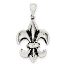 Sterling Silver Antiqued Fleur de Lis Pendant QC6595