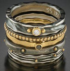 Stack of 5 Rings Oxidized sterling silver, 18k gold, diamonds by Ann Marie Cianciolo