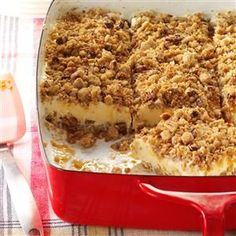 Caramel Pecan Ice Cream Dessert Recipe -My mother passed this old-time recipe on to me because she knew I'd want to make it. I love desserts—especially this one! —Mary Wright, Morriston, Ontario