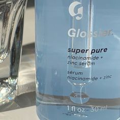 Super Pure: our face serum rich in niacinamide (aka vitamin and zinc that targets troubled, blemish-prone skin and uneven texture. Light Blue Aesthetic, Blue Aesthetic Pastel, Aesthetic Colors, Aesthetic Pictures, Aesthetic Makeup, Glossier Super Pure, Image Bleu, Blue Feeds, Everything Is Blue