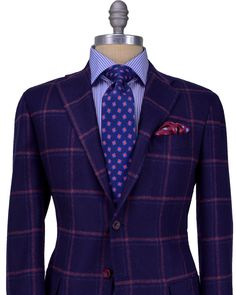 Navy with Bordeaux and Navy Windowpane Sportcoat