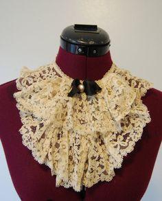 Victorian Steampunk Clothing | Vintage Victorian steampunk fashion lace collar by grumpyonprozac