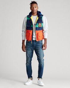 Polo Ralph Lauren Vtg Colorblocked Jacket Vest Hi Tech Stadium Snow Beach Pwing Preppy Boys, Preppy Style, Vest Jacket, Bomber Jacket, Preppy Mens Fashion, Men's Fashion, Polo Design, Women Brands, Stretch Jeans