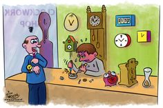 "Cartoon made for #cartoonfestival ""Time is running out"" 2014 