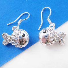 $6 Small Fish Sea Animal Dangle Earrings in Silver with Rhinestones