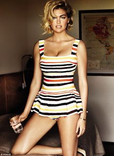 Kate Upton wearing a vintage fifties style swimsuit in a photoshoot for Vogue. via dailymail.co.uk