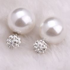 White Rhinestone Double Stud Plug Earrings White Rhinestone Double Stud Plug Earrings Jewelry Earrings