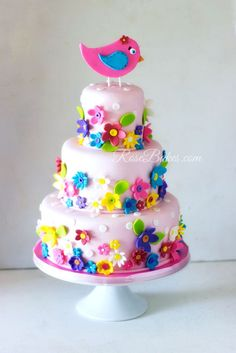 Spring Flowers 1st Birthday Cake