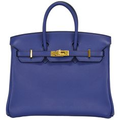 2014 HERMES Birkin Bag 25cm Blue Gold Hardware | From a collection of rare vintage handbags and purses at https://www.1stdibs.com/fashion/accessories/handbags-purses/