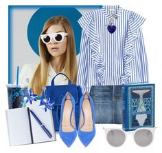 """""""Book Report Blues"""" by angelc ❤ liked on Polyvore featuring Frame, Tory Burch, Vera Bradley, Smythson, Alexander McQueen, Kate Spade and Charming Life"""
